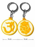 Tech Fashion Om Ganesh Ganpati Yellow White Synthetic Rubber Locking Key Chain (Yellow, White)