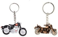 I-Gadgets Royal Enfield Bike Shaped And 3d Thunderbird Metal Key Chain (Multicolor)
