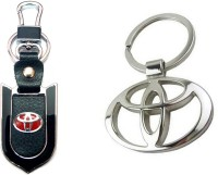 City Choice Toyota Leather Metal Hook Combo Locking Key Chain (Chome , Black & Red)