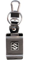 Chainz Suzuki Square Leather Metallic Locking Keychain (Black)