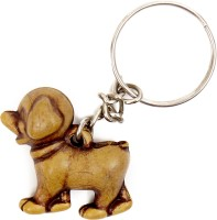 Lehar Toys Pvc Wooden Finish Puppy Key Chain Locking (Brown)