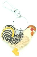 Thinksters Handcrafted Rooster Wooden Keychain Carabiner (Cream, Black, Brown)