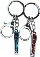 Get Fatang Valentine Love Scroll With Hook For Him And Her Locking Spring Gate, Bent Gate Key Chain (Blue, Red)