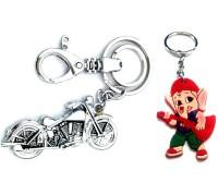 Ezone Bullet BIke & Rubber Ganesh Key Chain Locking Key Chain (Silver)