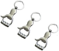 Ezone Hand Bottle Opener Pack Of 3 Key Chain (Silver)