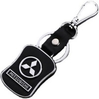 Aura Mitsubishi Cars Metal & Leather Imported Locking Keychain (Black, Silver)