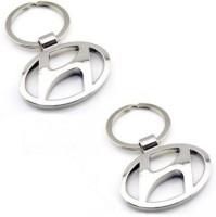 Aura Set Of 2 Imported Hyundai Cars Full Metal Locking Keychain (Silver)