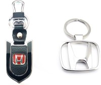 City Choice Honda Leather Metal Hook Combo Locking Key Chain (Chrome , Black & Red)