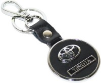Aura Imported Toyota Round Metal Leather Locking Keychain (Black, Silver)