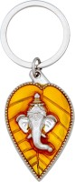 Tech Fashion Ganesh Ganpati Lord Dark Yellow Leaf Chrome Silver Locking Key Chain (Yellow)