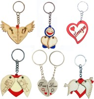 CTW Pine Wood Heart Photoframe Couple Heart Pack Of 6 Combo Keychain (Red, Blue, Silver, Cream)
