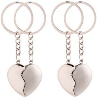 Confident Set Of 4 Metal Broken Heart Keychain (Silver)