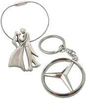 Confident Set Of 2 Standing Couple And Mercedece Benz Key Chain (Silver)