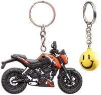 Confident Ktm 02 Duke Bike Rubber Keychain And Get Free Smiley Ball Keychain (Multicolor)