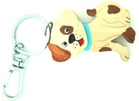 Thinksters Handcrafted Wooden Dog Keychain Locking CARABINER (Cream, Brown)