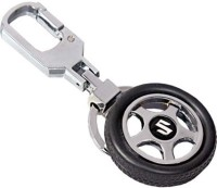 City Choice Suzuki Wheel Locking Key Chain (Black & Chrome)