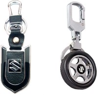 City Choice Suzuki Wheel & Leather-Metal Locking Key Chain (Black & Chrome)