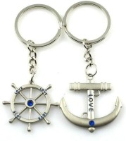 CTW Nautical Steering Wheel Anchor Forever Love You Couple Metal Keyring Key Chain (Silver)