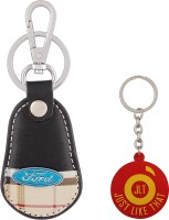 JLT Premium Burberry Design Ford Car Logo Locking Key Chain (Multicolor)