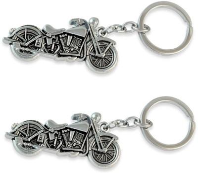 Chainz Pack Of 2 Metal Chopper Bike Keychain (Silver)