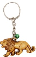Lehar Toys Pvc Wooden Finish Lion Key Chain Locking (Brown)
