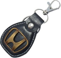 CTW Honda Logo Bike&Car Leather & Metal Locking Locking Key Chain (Black)