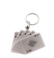 Confident Metal MVP129 PLAYING CARDS Key Chain (Silver)