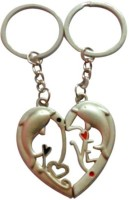 CTW Love Dolphin Heart Couple Pack Key Chain (Silver)