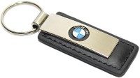 Aura BMW Leather & Metal Imported Locking Keychain (Silver, Black)
