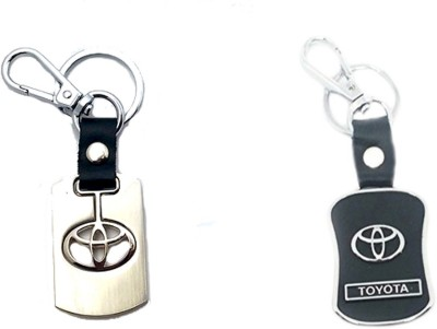 City Choice 2 Pcs Toyota Leather Metal Keyrings Locking Key Chain (Black,Chrome,SILVER)