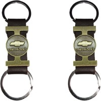 Singh Xpress Fancy Tri Material Brass Leather Chevrolet(Pack Of 2) Key Chain (Black)