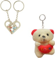 Anishop Couple I Love You Heart & Teddy Bear Couple Valentine Gift Key Chain (Silver)