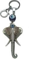 City Choice New Ganesha Face With Evil Eye Locking Key Chain (Blue & Silver Grey)