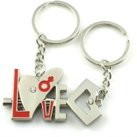 CTW Coouple Love Heart Lock & Key Valentine Gift Metal Keyring Key Chain (Silver)