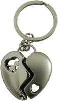 Techpro Valentines'day Romantic Metal Heart Key Chain (Silver Metal Color)