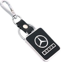 Azure Mercedes Benz Leather & Metal Square Car Key Chain Locking Carabiner (Black)