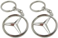 Confident MVP327 Metal Mercedece Benze Car Logo Set Of 2 Key Chain (Silver)