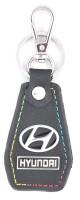 Forty Creek Leather Auto Hyundai Hexagonal Locking Key Chain (Black, Silver)