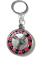 Tech Fashion Casino Roulette Wheel Game Locking Keychain (Red, Black)