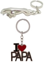 Confident Metalic Jaguar Car Logo And I Love Papa Key Chain (Multicolor)