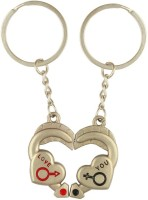 CTW Love You Metal Heart Pair Keychain (Silver)