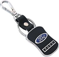 U. R. God HQ Ford Leather & Metal Car Logo Locking Key Chain (Black)