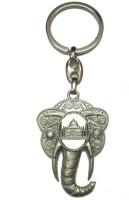 City Choice Silver Taj Mahal With Elephant Head Key Chain (Silver)