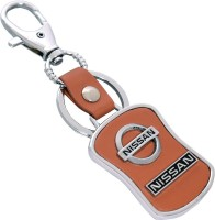 U. R. GOD HQ Nissan Leather & Metal Car Logo Locking Key Chain (Brown)