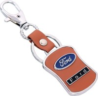U. R. God HQ Ford Leather & Metal Car Logo Locking Key Chain (Brown)