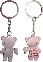 CTW Cute Couple Love Heart Teddy Bear Keyring Metal Key Chain (Silver)