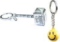 Chainz Silver Thor Hammer And Smiley Ball Keychain (Multicolor)