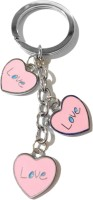 Tech Fashion Heart Shape Three Pink Colour Love Locking Keychain (Pink)
