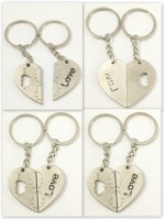 Singh Xpress Combo Of 5 I LoYe You Magnetic Opposing Hearts With Arrow ( For Him And Her) - Key Chains - Car And Bike - Fancy - Accessories Stainless Metal Alloy - - Valentines Special With Matte Finish Carabiner (silver)