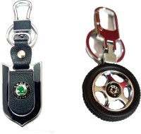 City Choice Combo Of Skoda Wheel & Leather-Metal Locking Key Chain (Black , Green & Chrome)